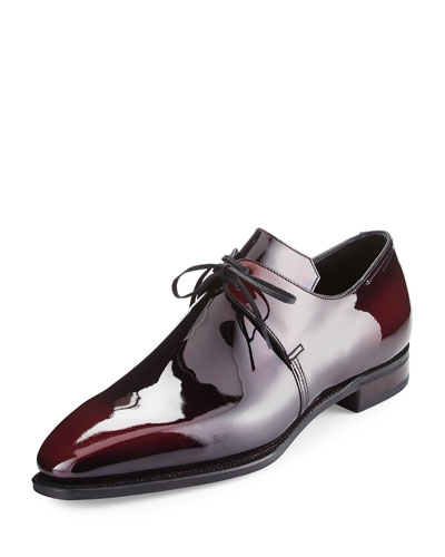 Arca Patent Leather Derby Shoe, Raspberry