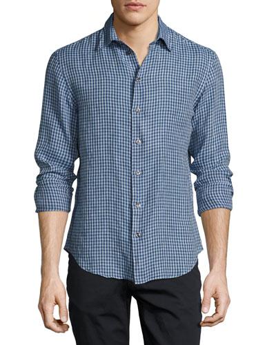 Gingham Linen Sport Shirt, Navy/Light Blue