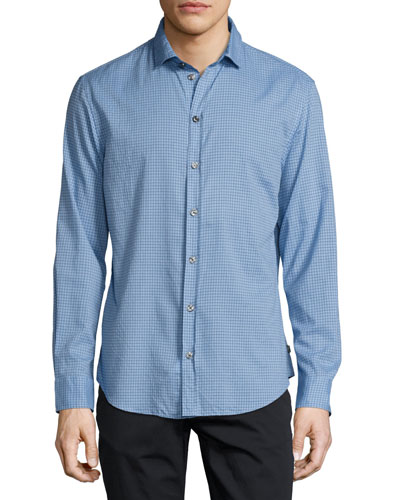 Box Check Sport Shirt, Light Blue/Navy