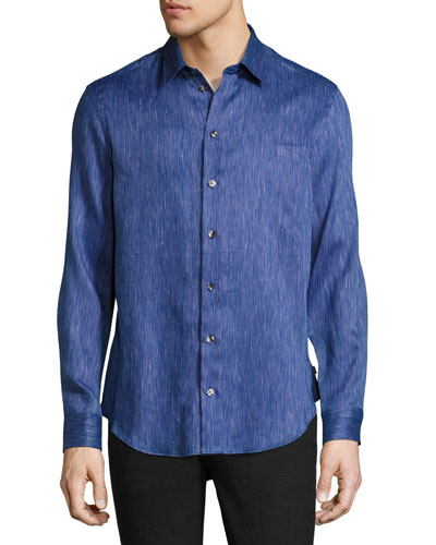 Fine-Stripe Sport Shirt, Navy Blue