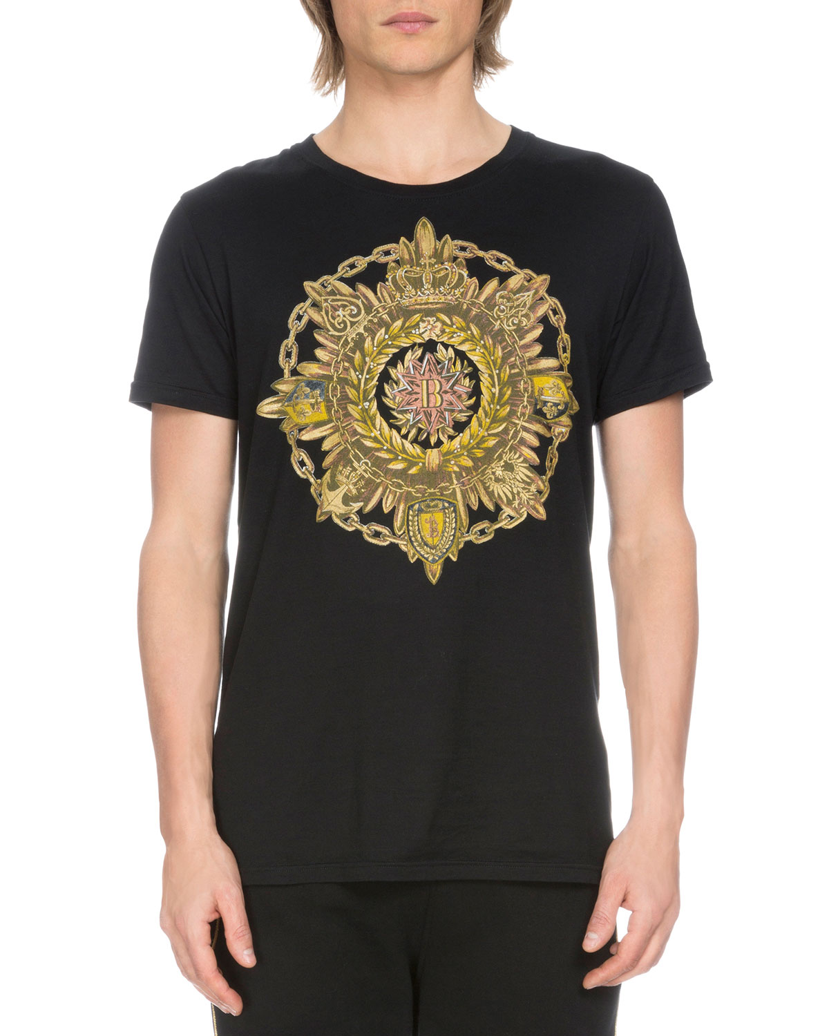 Short-Sleeve Medallion Logo T-Shirt, Black