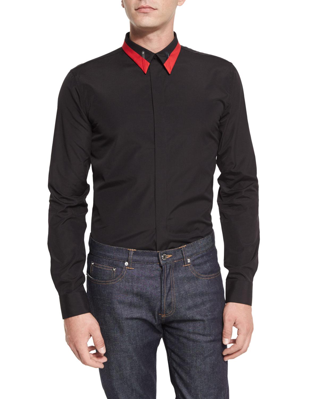 Metal Star & Stripe-Collar Woven Shirt, Black