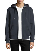 Claredon Jersey Hoodie w/Check Lining, Navy