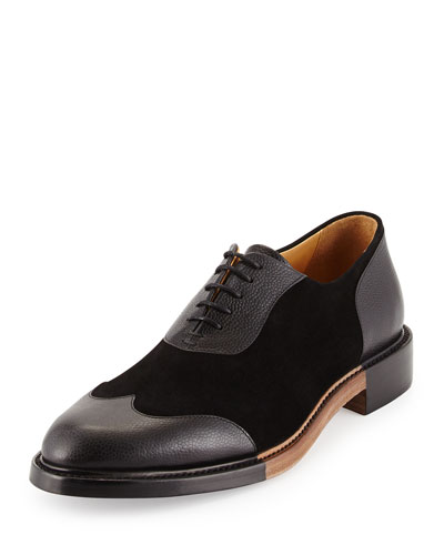 Meyer Leather & Suede Wing-Tip Shoe, Ink