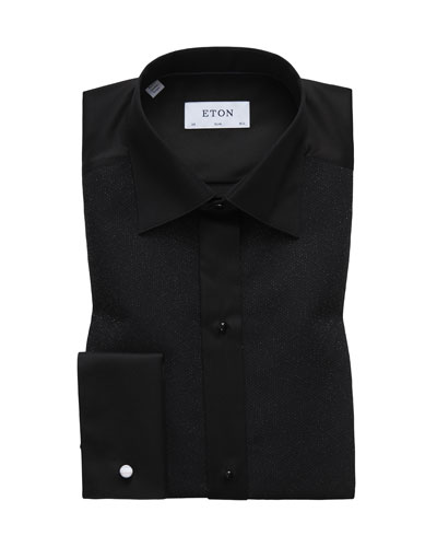 Metallic Dotted Formal Shirt, Black