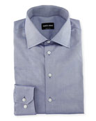 Solid Cotton Dress Shirt, Blue