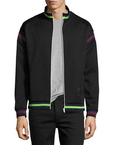 Striped Zip-Front Cycle Jacket, Darkest Black