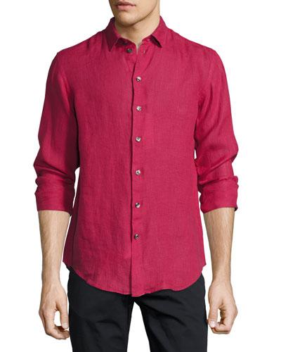 Long-Sleeve Linen Sport Shirt, Berry Red