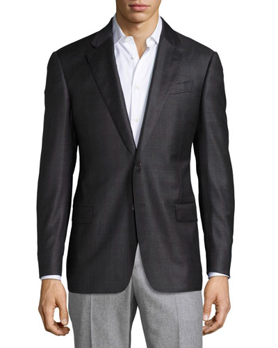 G-Line Windowpane Wool Two-Button Sport Coat, Charcoal