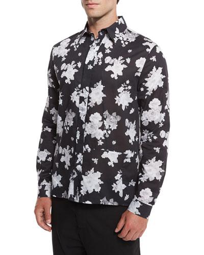 Floral-Print Sport Shirt, Greyscale