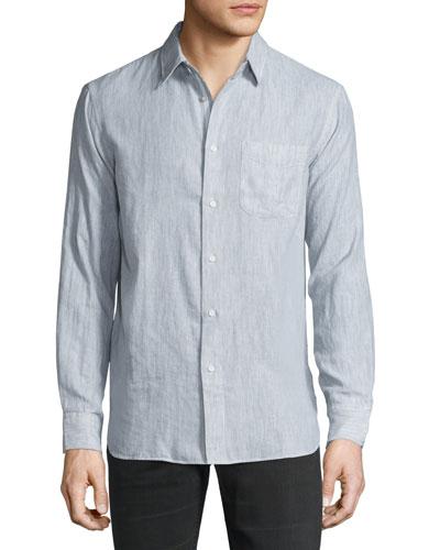 Classic-Fit Pocket Shirt, Gray/White