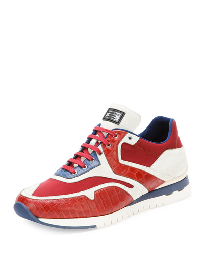 Croc & Leather Sport Sneaker, Red