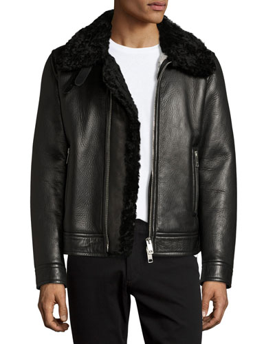 Lambskin & Shearling Aviator Jacket, Black