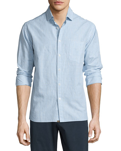 John Check Woven Sport Shirt, Light Blue