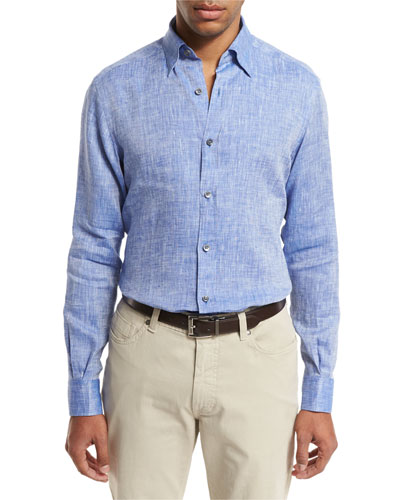 Linen Sport Shirt, Medium Blue
