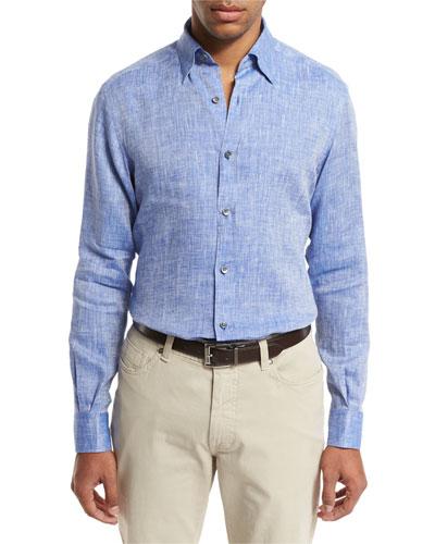 Linen Sport Shirt, Medium Blue