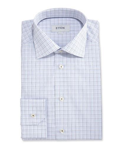 Slim-Fit Grid Check Dress Shirt, White/Navy Blue