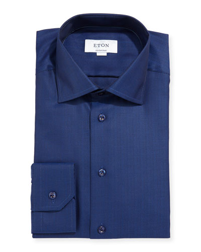 Contemporary-Fit Herringbone Dress Shirt, Navy