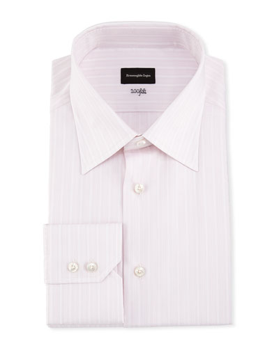 100Fili Striped Dress Shirt, Pink/White