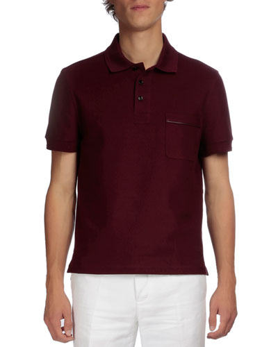 Short-Sleeve Polo with Leather Detail, Wine
