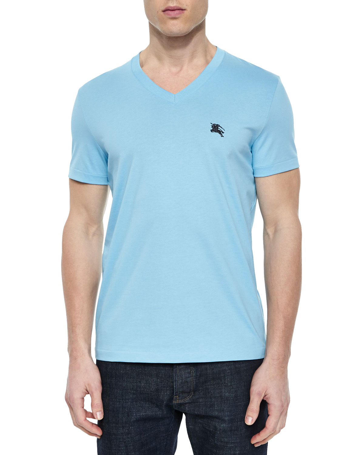 Cotton V-Neck T-Shirt, Light Blue