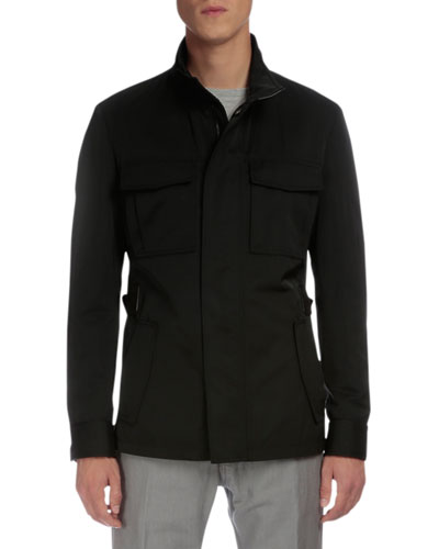 Lightweight Buckled-Side Jacket, Black
