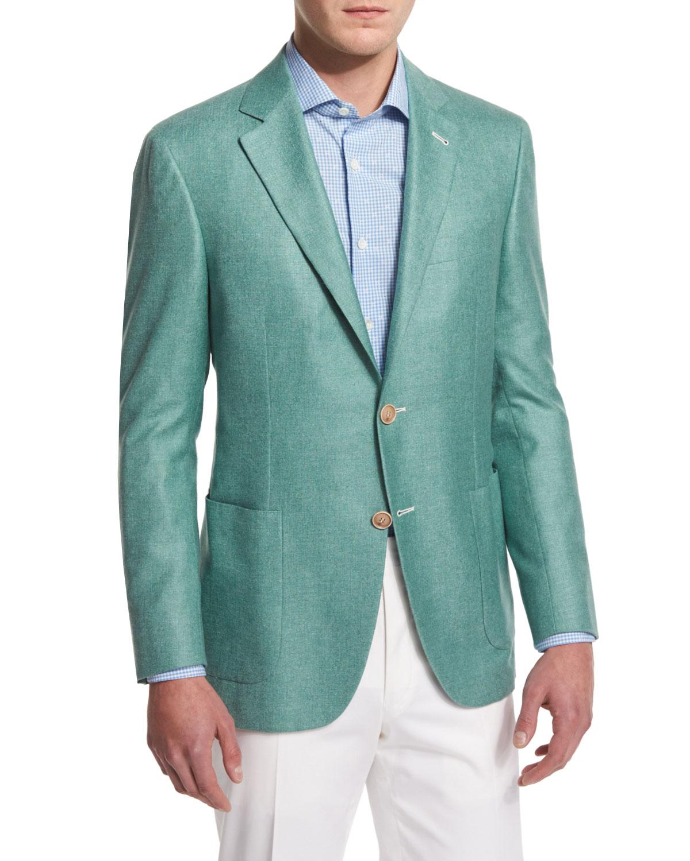 Solid Wool-Blend Two-Button Blazer, Light Green
