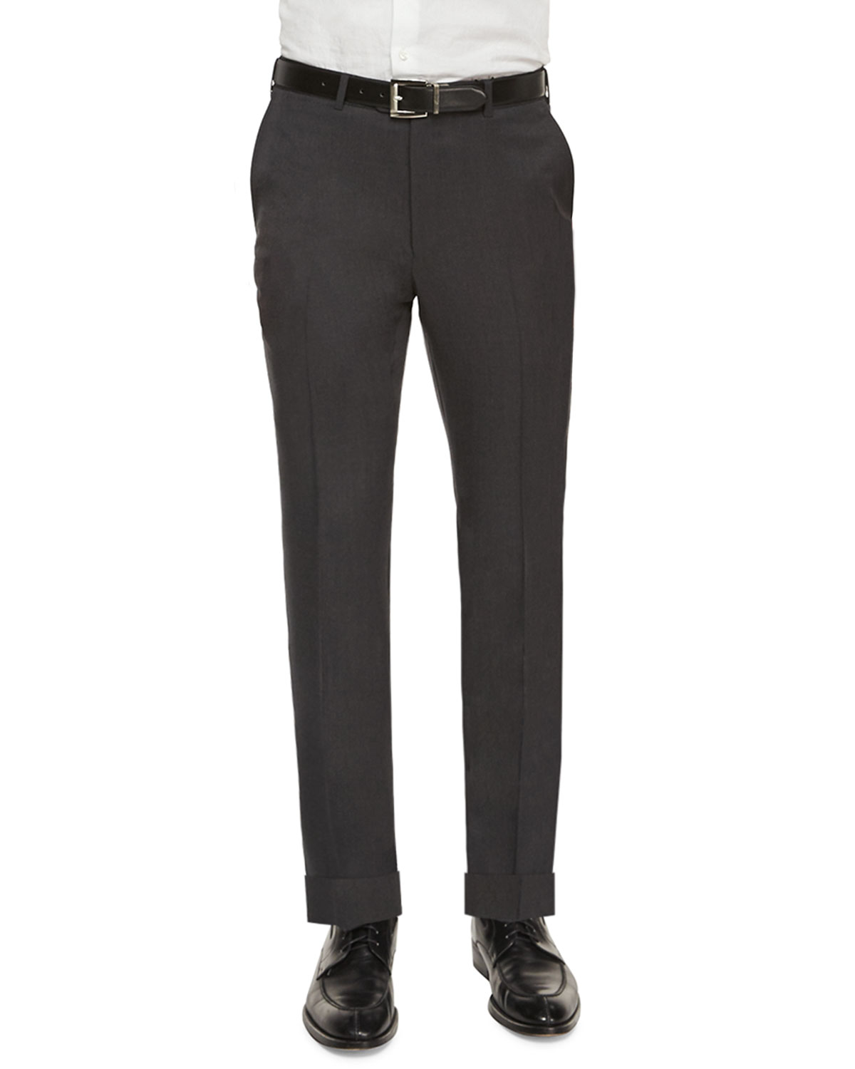 Flat-Front Regular-Fit Wool Trousers