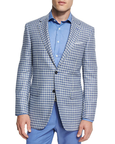 Sienna Contemporary-Fit Check Sport Coat, Light Blue