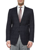 Plaid with Windowpane Two-Button Jacket, Navy