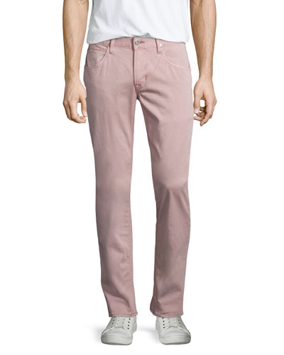 Blake Quince Slim-Straight Twill Pants, Pink