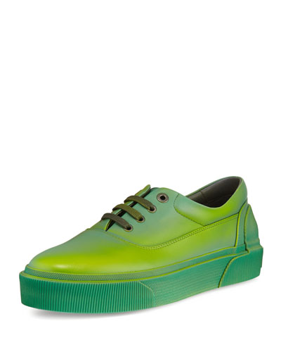 Ombre Leather Low-Top Sneaker, Green/Yellow