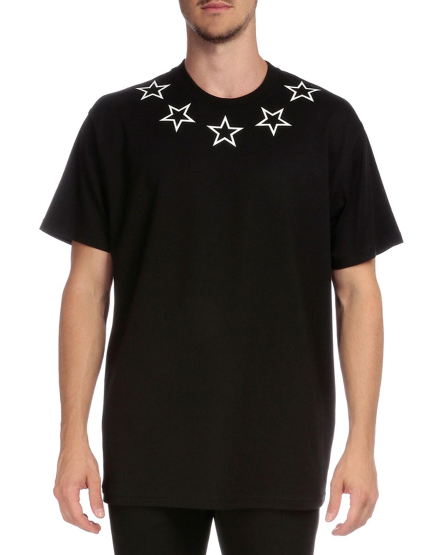 Colombian Star-Collar Short-Sleeve T-Shirt, Black