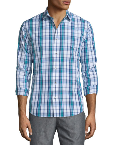 Plaid Long-Sleeve Sport Shirt