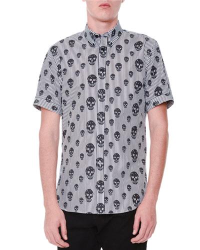 Skull-Print Striped Short-Sleeve Shirt
