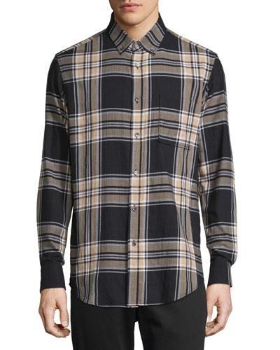 Plaid Long-Sleeve Flannel Sport Shirt