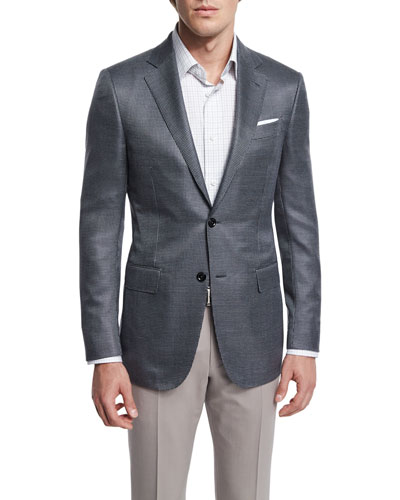 Milano Mini-Check Two-Button Wool Jacket, Gray