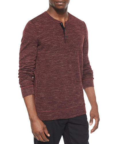 Wool-Blend Long-Sleeve Henley Tee