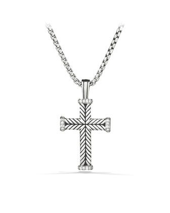 Pave Diamond Chevron Cross Necklace, 22