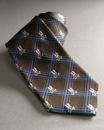 Psycho Bunny Plaid Bunny Tie, Brown -  Neckwear -  Neiman Marcus :  gifts plaid exclusive mens fashion