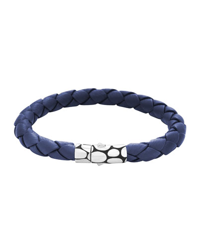 Kali Woven Leather Bracelet, Blue
