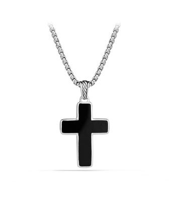 Black Onyx Chevron Cross Necklace