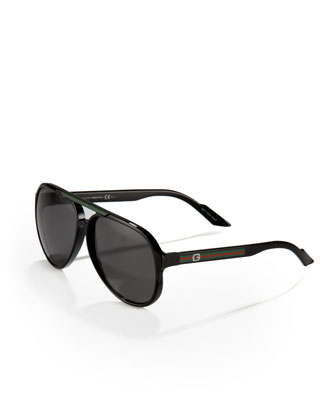 Rounded Plastic Sunglasses, Shiny Black