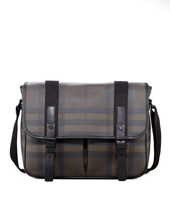 Check Messenger Bag, Smoke
