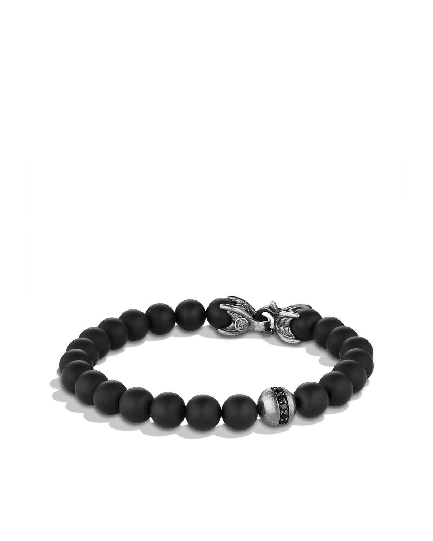 Men's Spiritual Beads Bracelet with Black Onyx and Black Diamonds