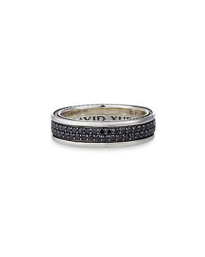 Streamline Two-Row Band Ring with Black Diamonds
