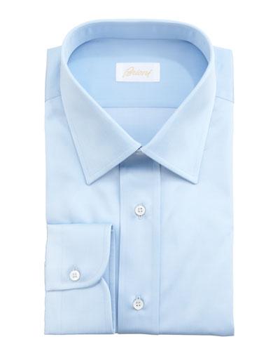 Barrel-Cuff Dress Shirt, Light Blue