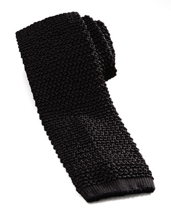 Knit Silk Tie, Black