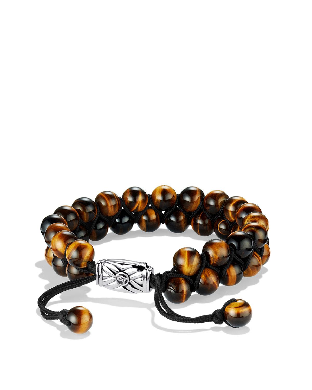 Men's Spiritual Beads Two-Row Bracelet with Tiger's Eye