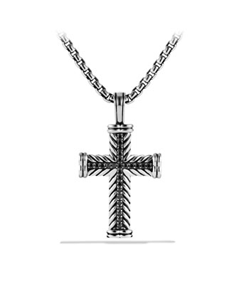Chevron Cross Necklace, Black Diamond, 22